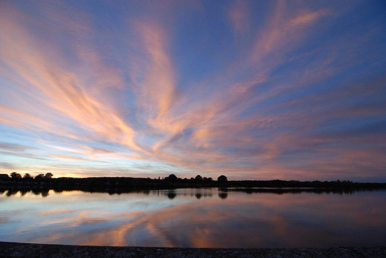 Sunset over lake Baye